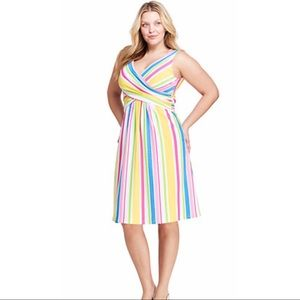 Lands' End Fit & Flare Multistripe Dress